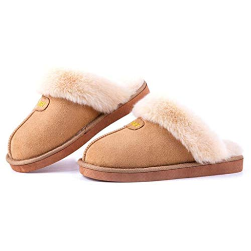 KKCD Frauen warme Winter Memory Foam Pantoffeln, Plüsch geschlossene Zehe Anti Slip House Indoor Unisex Paar Schuhe,Beige,38/39
