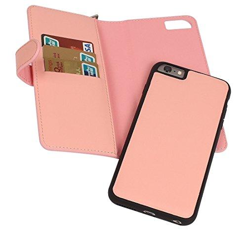 MXNET Case für iPhone 6 & 6s Plain Weave Texture Zipper Horizontale Flip Leder Tasche mit abnehmbarem Rücken Schutzhülle & Card Slots & Wallet ,Iphone 6/6s Case ( Color : Brown ) Pink