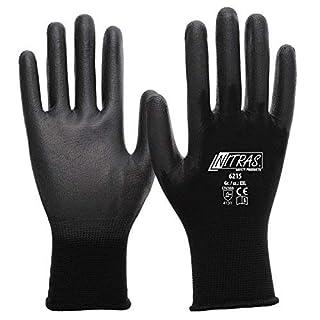 Nitras 6215 Paire de gants de travail en nylon avec revêtement partiel de polyurethan Noir Taille L / 9