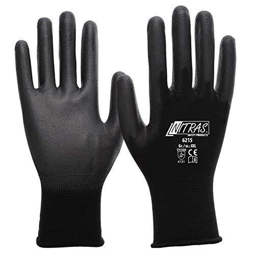 NITRAS Nylon Montagehandschuh 6215 PU beschichtete Handschuhe, schwarz Gr. XL (9) 12 Paar Nylon-handschuh