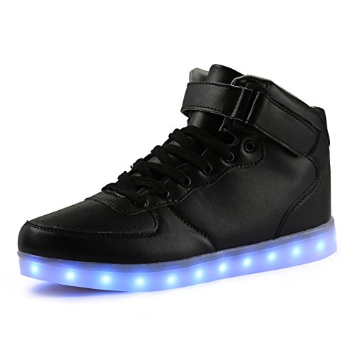 AFFINEST Unisex High Top USB Aufladen 7 Farben Blitzen Damen Turnschuhe Leuchtende Sneaker Für Herren Damen Kinder(EUR42 ,Schwarz)