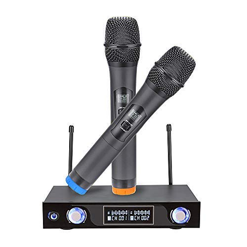 UHF Funkmikrofon Wireless Mikrofon System Kabelloses Dual 2 Handmikrofon Bluetooth Karaoke Anlage Mikrofon mit LCD Display Tragbare Professionelle Home KTV Set für Party Konferenz Konzerte Hochzeit (Dj Wireless Microphone)