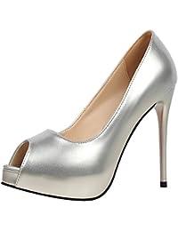 Peep Toe Mujer Zapatos de tacón De BIGTREE Charol Plataforma Zapatos de tacón Boda Tacones altos