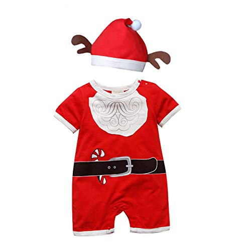 fairy baby Weihnachten Strampler mit Langen Ärmeln Weihnachtsmann Outfits Performance Kostüm mit Hut Size 80 (Red Beard Short Sleeve)