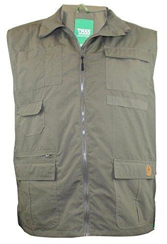 D555 Weste viele Taschen (JAKE), Größen XL-8XL, 2 Farboptionen Caqui