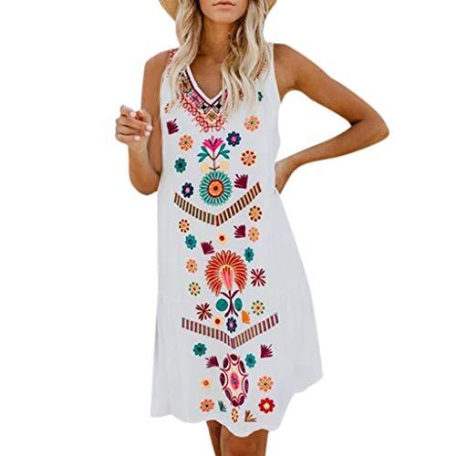 Rosennie Damen Kleid Boho Sommerkleid Frauen V-Ausschnitt T Shirt Kleid Damen Vintage Strand Kleid Casual Urlaub Sommer Beach Party Kleid Oversize Böhmischen Strandhemd ()