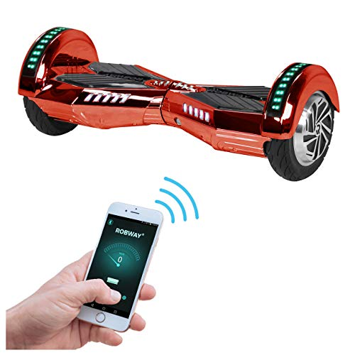 Robway W2 Hoverboard - Das Original - Samsung Marken Akku - Self Balance - Bluetooth - 2 x 350 Watt Motoren – 8 Zoll Räder (Rot Chrom)