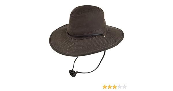 f95379f0af5 Dorfman-Pacific Hats Oil Cloth Waterproof Big Brim Safari Hat - Brown:  Amazon.co.uk: Clothing