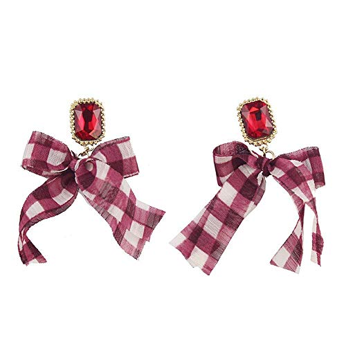 Seba5 homeOhrringe Hypoallergen Berry Lila Rot Transparent Gaze Plaid + Ruby White Earrings Platinum-berry