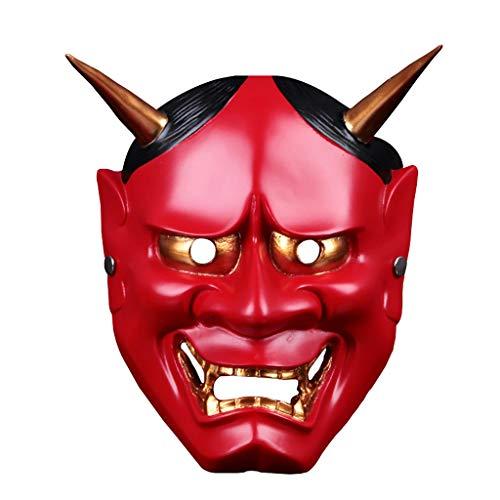 FiedFikt Halloween-Dekoration, Cosplay, Gruseliger Teufels-Helm, Maske, Gesicht, Requisite, Halloween, Kostüm, Party, Halloween, rot, - Gemütliche Teufel Kostüm