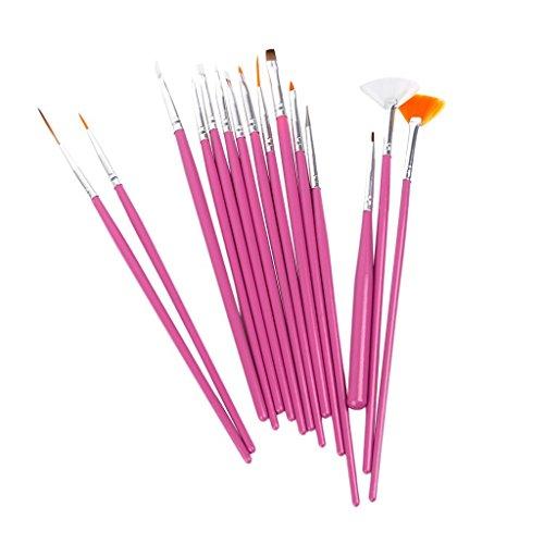 1 X 15 x Nagel Kunst Malerei Pen / Pinsel Set - Pink (Nail Art Paint Acryl)