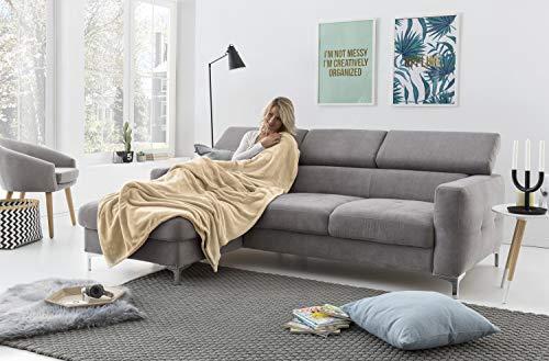 myHomery Kuscheldecke fürs Sofa aus Coral Fleece - Decke - Wolldecke warm & kuschelig - Sofadecke XL - Wohndecke gemütlich - Creme | 220 x 240 cm