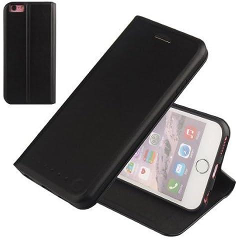 Nouske iPhone 6/6s Funda protectora de tipo Cartera para teléfonos móviles/TPU protección frente a golpes/Estuche para tarjetas de crédito/Soporte/Conciso y Ultra delgado/Hebilla magnética,Negro