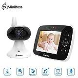 MiniBoss Vigilabebés Bebé Monitor Vídeo Cámara con 3.5' LCD Monitor de Bebé de Inalámbrico para Visión Nocturna Monitoreo de Temperatura Despertador