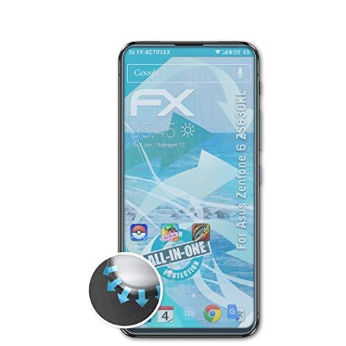 atFolix Schutzfolie passend für Asus Zenfone 6 ZS630KL Folie, ultraklare & Flexible FX Bildschirmschutzfolie (3X)