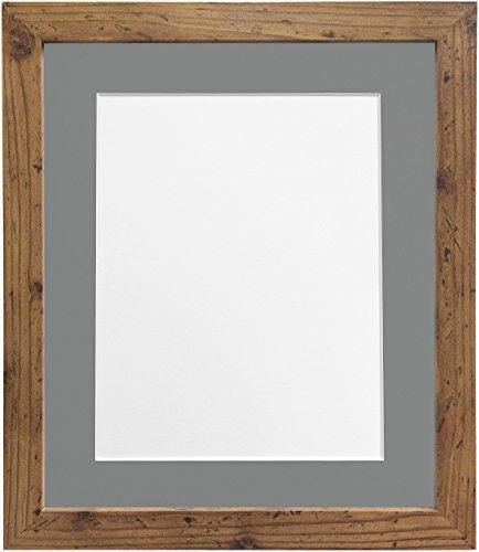 *Frames by Post H7-Bilderrahmen mit weißem Passepartout, Breite 25 mm, weiß, holz, Rustic Oak, A3 Image Size A4*
