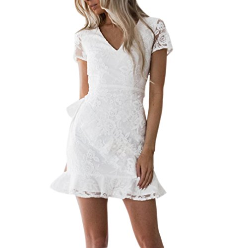 Yanhoo- vestiti donna estivi eleganti abito abiti sera, donne sexy estate bodycon schienale partito croce sera pizzo abito corto mini (s, bianco#)