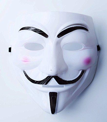 Gesichtsmaske Halloween Weiß Kunststoff V Vendetta Säuberung Anonymous -
