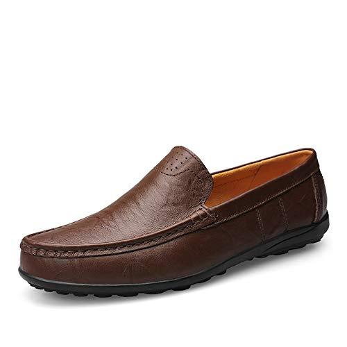 DADIJIER Herren Business Casual Echtem Leder Penny Loafers Formales Kleid Hochzeit Schuhe Atmungsaktiv rutschfeste Flache Runde Kappe Slip-on Anti-Rutsch (Color : Dunkelbraun, Größe : 37 EU) (Echte Wildleder Jacke Männer)