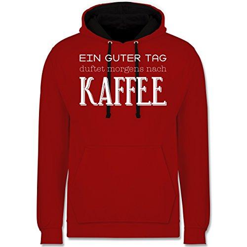 Küche - Ein guter Tag duftet morgens nach Kaffee - Kontrast Hoodie Rot/Schwarz