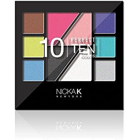 Nicka K NUEVA YORK Lidschatten Paleta Perfect Ten, Paquete 1er (1 x 1 Pieza)