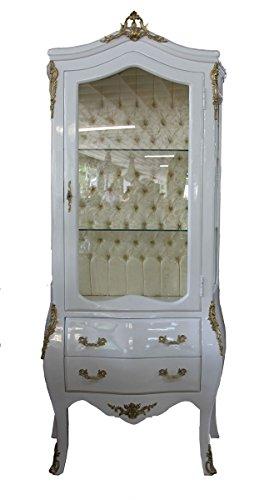 Casa Padrino Barock Vitrine Weiß/Gold - Vitrinenschrank - Wohnzimmerschrank Glasvitrine