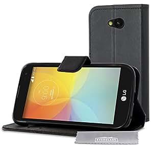 Housse LG F60 - Etui Folio noir articulé dédié pour LG F60 + protection intérieure en suédine + coque intégrée . Prix spécial Nouveauté. Marque : Everglade.