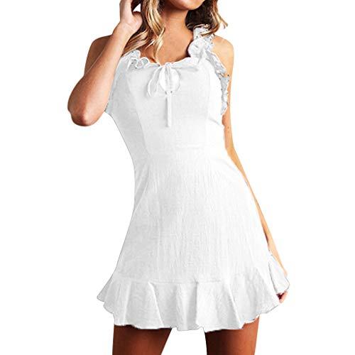 Epig Damen Kleid, Damenmode Tie-up Hochhaus Rüschen Kleid Sexy Schlüsselloch Rundhals Ärmellos Slim Fit Reine Farbe ()