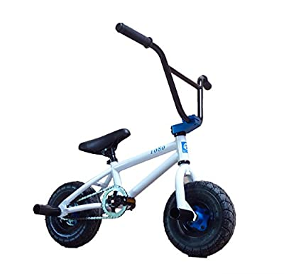 "Limited Edition 1080 10"" Wheel Stunt Freestyle Mini BMX Bike White & Blue"