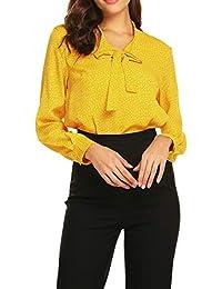 Beyove Damen Elegant Business Chiffonbluse Schluppenshirt T-Shirt mit  Schleife V-Ausschnitt… 282bd08350