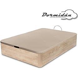Dormidán - Canapé abatible de gran capacidad con esquinas redondeadas en madera, base tapizada 3d transpirable + 4 válvulas aireación 135x190cm color roble