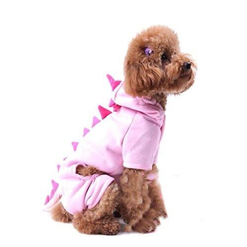 Ninasill ღ ღ Pet Hund Fell Kapuze Kleidung Puppy Kostüm Soft Jacket Casual X-Small Rose