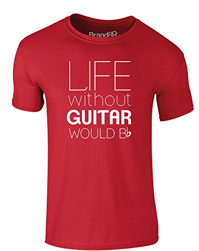 Brand88 - Life Without Guitar Would Be Flat, Erwachsene Gedrucktes T-Shirt Rote/Weiß