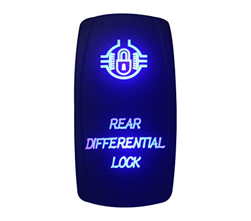 bandc 12 V/24 V hinten Differential Lock Rocker Switch Laser geätzt On-Off-SPST 5 Pins blau LED für Marine Grade Auto Boot RV Wasserdicht IP66
