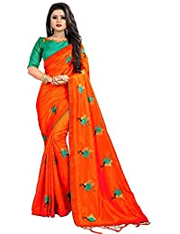 6d472afb8a Mordenfab Orange Women's Silk Embroidered Saree With Blouse Piece