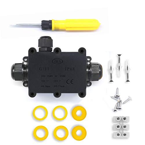 Scatole di derivazione,IP68 Scatole Impermeabili Esterno Scatole per Collegamenti per 4-14 mm Diametro Cavo,Nero Scatola di Giunzione Esterno Connettore Cavi Elettrici Impermeabile(1 Pack)