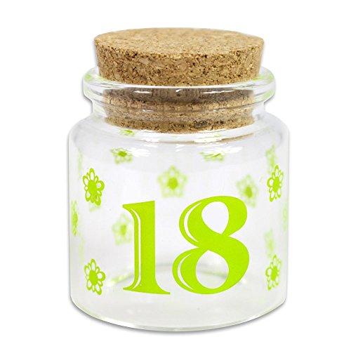 Vetrine in rete bomboniere portaconfetti 36 pezzi per 18 anni barattolo di vetro tappo di sughero blu rosa verde diciottesimo compleanno maschio e femmina (verde) g47