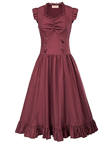Belle Poque Casual Sommerkleid Damen Swing Rockabilly Kleid Festlich Partykleid S BP364-3