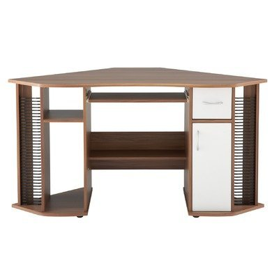 Alphason Lyndon Corner Desk - French Walnut Effect
