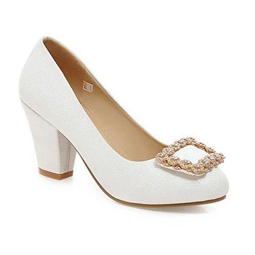 AllhqFashion Femme Rond Fermeture D'Orteil à Talon Haut Couleur Unie Tire Chaussures Légeres Blanc