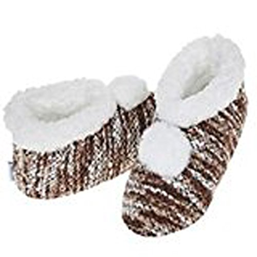 Snoozies da donna, lavorato a maglia, unisex adulto, motivo a strisce, stile Pantofole a stivaletto, colori assortiti Marrone (marrone)