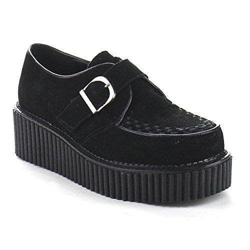 Baixos Camurça Arrasta Vegan Demonia Sapatos 118 Blk Trepadeira Preto qtZWn1A