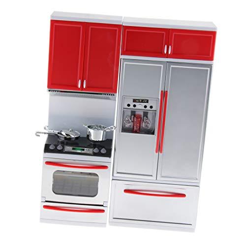 B Blesiya Rot Kinderküche Spielzeug Set inkl. Topf und Pfannen + Mikrowelle + Geschirrspüler + Spüle + Küchenschrank und andere Zubehör (Geschirrspüler Töpfe Und Pfannen)