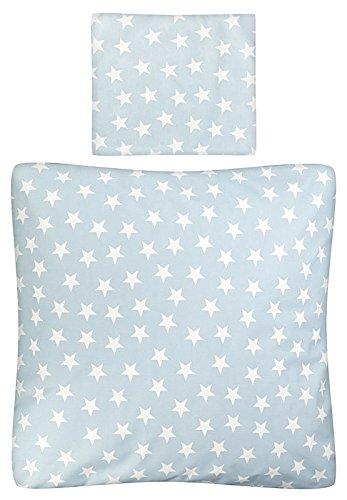 Aminata Kids - Baby-Bettwäsche-Set Bett-Decke 80-x-80-cm Kissen-Bezug 35-x-40 cm für Stuben-Wagen oder Kinder-Wagen Wiegen-Set Kinder-Decke Jungen und Mädchen Baumwolle hell-blau Weiss