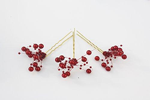3 épingles à cheveux avec perles dorées – couleur bordeaux – Perle compartiments