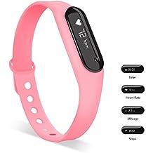 TKSTAR Pulsera Inteligente GPS Pulsera Inteligente Pulsera Actividad Bluetooth y Monitor de Ritmo Cardiáco, Sumergible de Resistente al Agua y Bluetooth 4.0, Podómetro, Monitor de Sueño, Control Remoto de Móvil para iOS o Superior y Android JU-C6 (Rosa)
