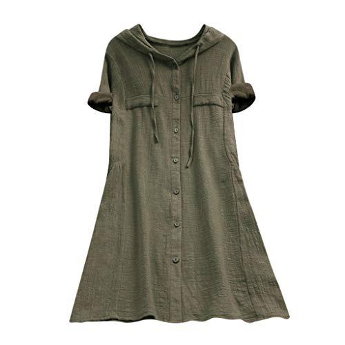 Zegeey Damen Kurzarm Oberteil T-Shirt Rundhals Ausschnitt Baumwolle Und Leinen Cat Drucken Asymmetrischer Saum Lose LäSsige Bluse Hemd Shirt Blusen Locker Basic Tops(A9-Armeegrün,5XL)