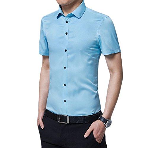 Männer Sommer Kurzarm-Hemd-dünne Geschäfts-beiläufige Hochwertige Nicht Bügelnde Menswear,SkyBlue-XXL