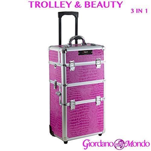 Trolley esthéticienne et coiffure professionnelle Make Up 3 en 1 avec Beauty Case incorporé fuchsia …