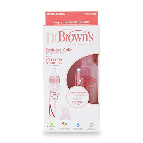 DR. BROWN'S - BPA Free Natural Flow Bottles Pink - 2 Count (8 oz. each)